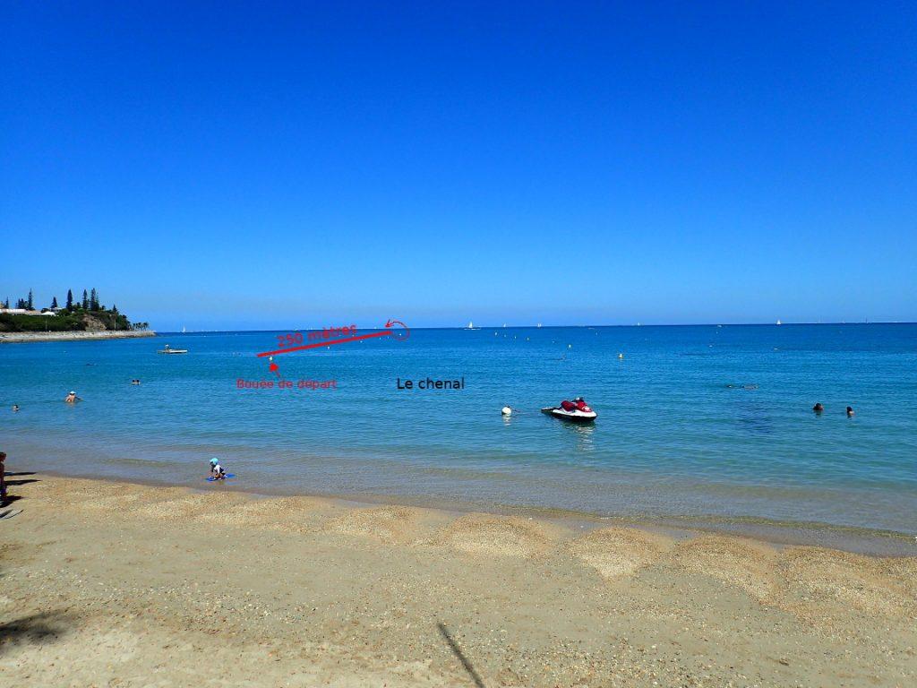 La Baie des citrons à Nouméa avec 'indication du trajet fait pour le capelé